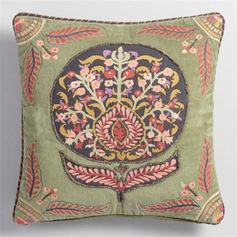 embroidered flower velvet throw pillow world market