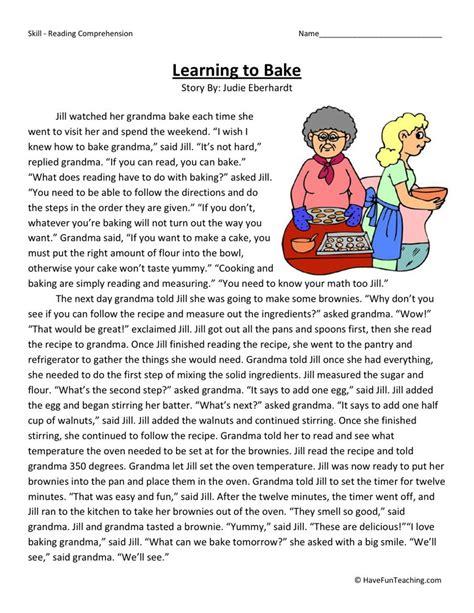 reading comprehension worksheet learning to bake