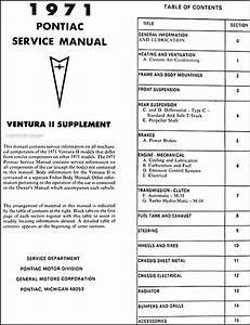 1971 Pontiac Ventura Ii Repair Shop Manual Original Supplement