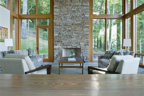 living room big window living room of modern vacation home with big windows home building furniture and interior