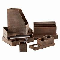 wood desktop organizer Feathergrain Wooden Desktop Organizer | The Container Store