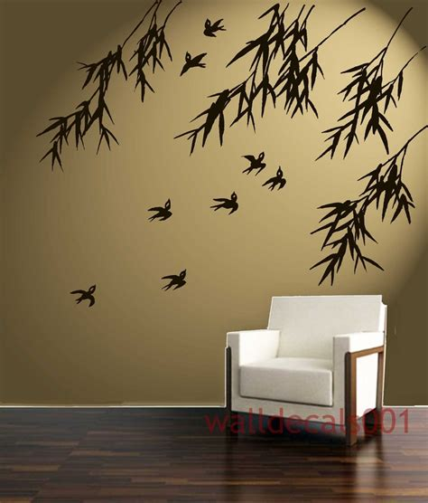 Stunning Living Room Wall Stickers by Vinyl Wall Decal Wall Sticker Birds With Bamboo