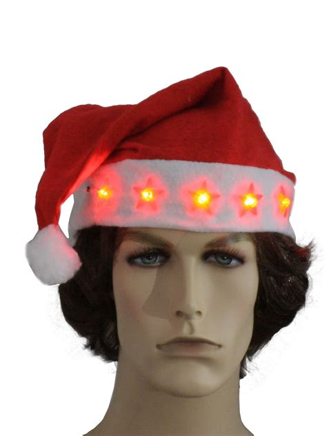 ugly christmas light up santa hat 90s light up star