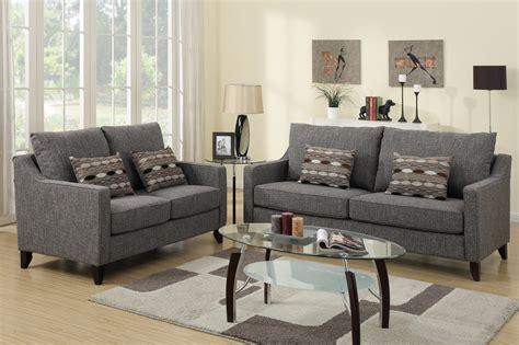 gray sofa and loveseat set poundex avery f7544 grey fabric sofa and loveseat set