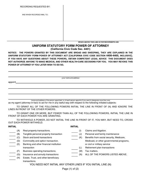durable power of attorney form for california best photos of medical power of attorney form template