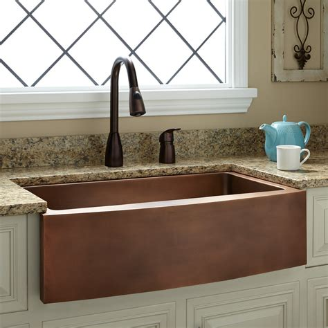 polished brass kitchen faucet 33 quot kiana curved apron copper farmhouse sink kitchen