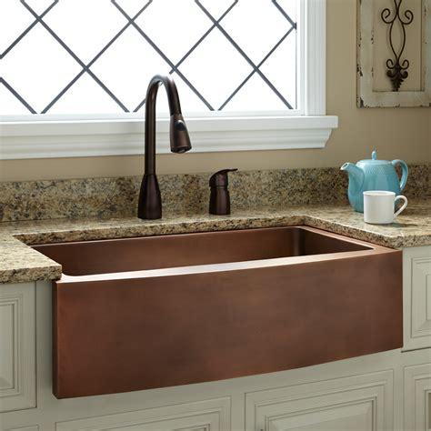 copper kitchen sink faucets 33 quot kiana curved apron copper farmhouse sink kitchen
