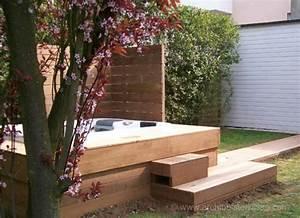 Jacuzzi En Bois : spa et jacuzzi ext rieur avec terrasse bois pare vue et ~ Nature-et-papiers.com Idées de Décoration