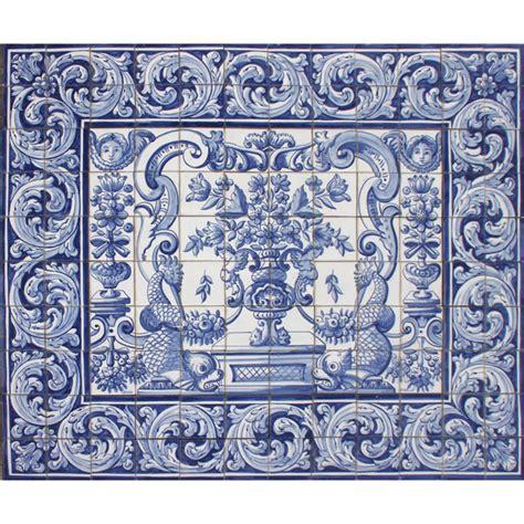 portuguese azulejos tiles mural panel blue flowers birds