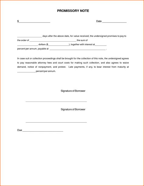 Promissory Note Template Promissory Note Format India Sle Promissory Note