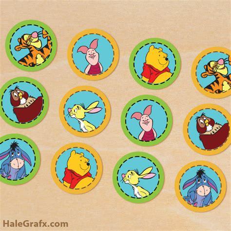 printable winnie  pooh cupcake toppers