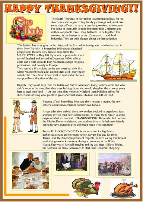 happy thanksgiving  page reading activity worksheet
