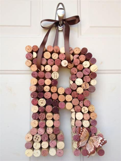 whimsical wine cork monogram custom letter home decor wine cork monogram wine craft cork crafts