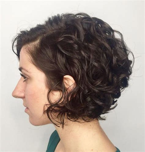 Jaw Length Side Parted Curly Bob #curlybobhairstyles