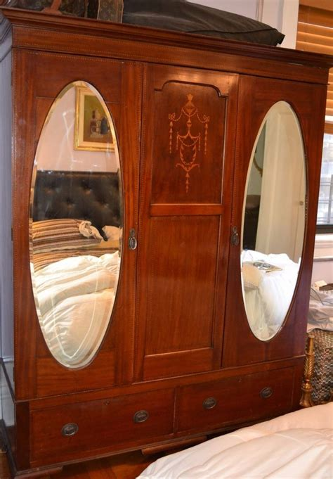 Antique Armoire With Drawers by Antique Armoire 2 Doors 2 Mirrors Inlay Design Large 60
