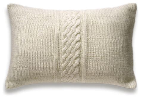 decorative cable knit pillow cover in ivory 12x18 inch