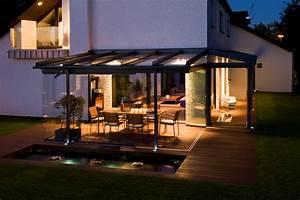 terrasse couverte toit verre With toit de terrasse en verre