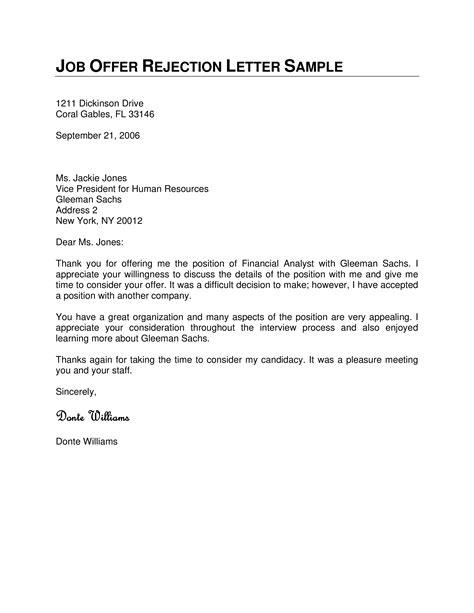 formal job offer rejection sample letter templates