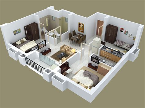 25 Three Bedroom Houseapartment Floor Plans