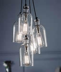 kitchen fluorescent lighting ideas clear glass 5 light multi pendant