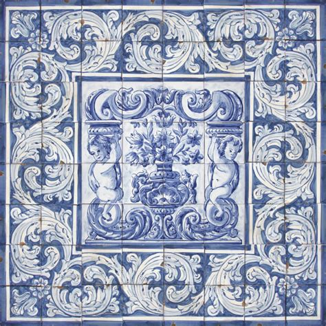 portuguese traditional clay tiles azulejos mural panel
