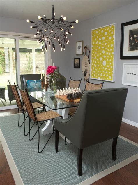 eclectic gray dining room  yellow art funky