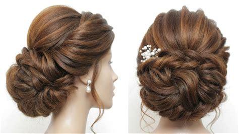 messy bun bridal hairstyle  long hair wedding