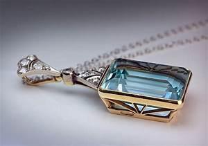 Art Deco Aquamarine Pendant Necklace - Antique Jewelry ...