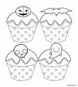 Coloring Halloween Cupcake Cartoon Babadoodle Bat Ghost Printable Children Pumpkin Skeleton Jack sketch template