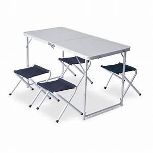 Table Et Chaise Camping : table de camping pliable xl 4 tabourets pinguin outdoor equipment montania sport ~ Nature-et-papiers.com Idées de Décoration