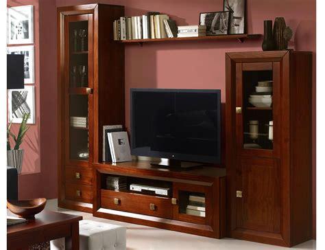 muebles de salon comedor color nogal en madera dm