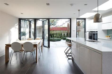 large bi fold doors   kitchen diner dining table