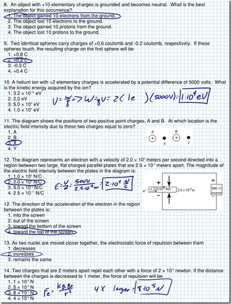 Printables Electrostatics Worksheet Answers Mywcct Thousands Of Printable Activities