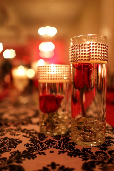 Centerpiece Submerged Red Roses With Floating Candles