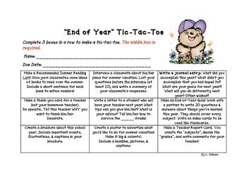 end of year tic tac toe choice board activities the o