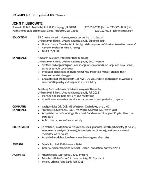 Chemical Engineer Resume Template  6+ Free Word, Pdf