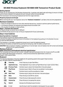 Lite On Technology Kb9660 Wireless Keyboard User Manual Sk