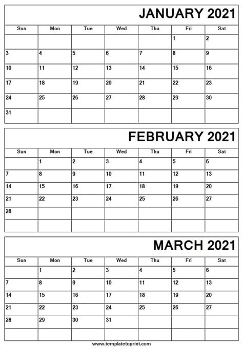 print calendar january  march   monthly