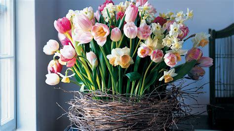birch wrapped basket  tulips  daffodils martha