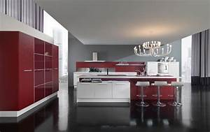 new modern kitchen design with red and white cabinets With red kitchen designs photo gallery