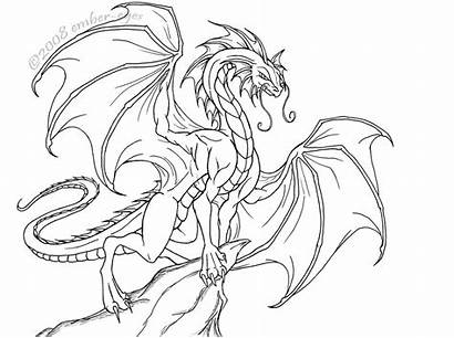 Dragon Lineart Deviantart Ember Dragons Eyes Coloring