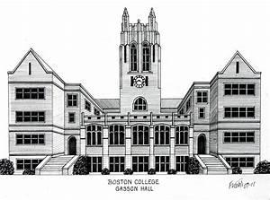 Boston College Drawing by Frederic Kohli