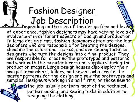 fashion designer description occupational outlook frohwein ppt