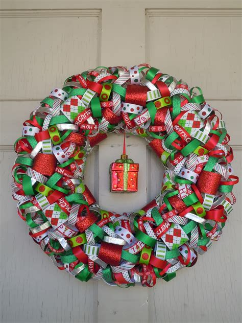 christmas ribbon wreath 14 in crafts pinterest