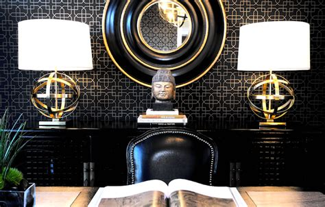 black and gold interior black and gold office contemporary den library office atmosphere interior design