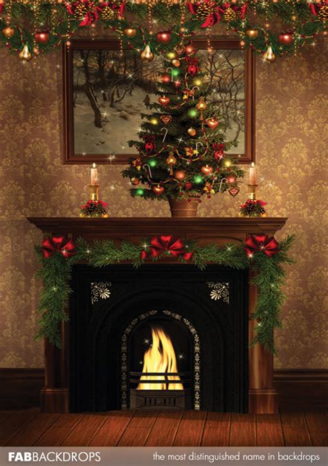 Backdrop With Fireplace by Fab Drops Photography Backdrop