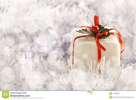 christmas gift  freezing cold winter background stock