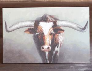 texas steer oil painting With best brand of paint for kitchen cabinets with texas longhorn wall art