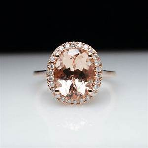 oval morganite diamond halo engagement ring in 14k rose With rose gold morganite wedding rings