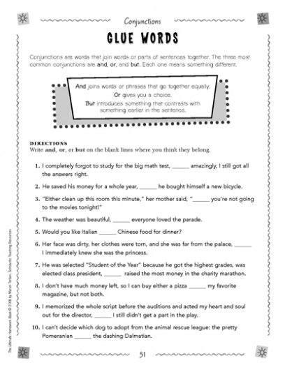 conjunctions glue words simple sentences sentences and